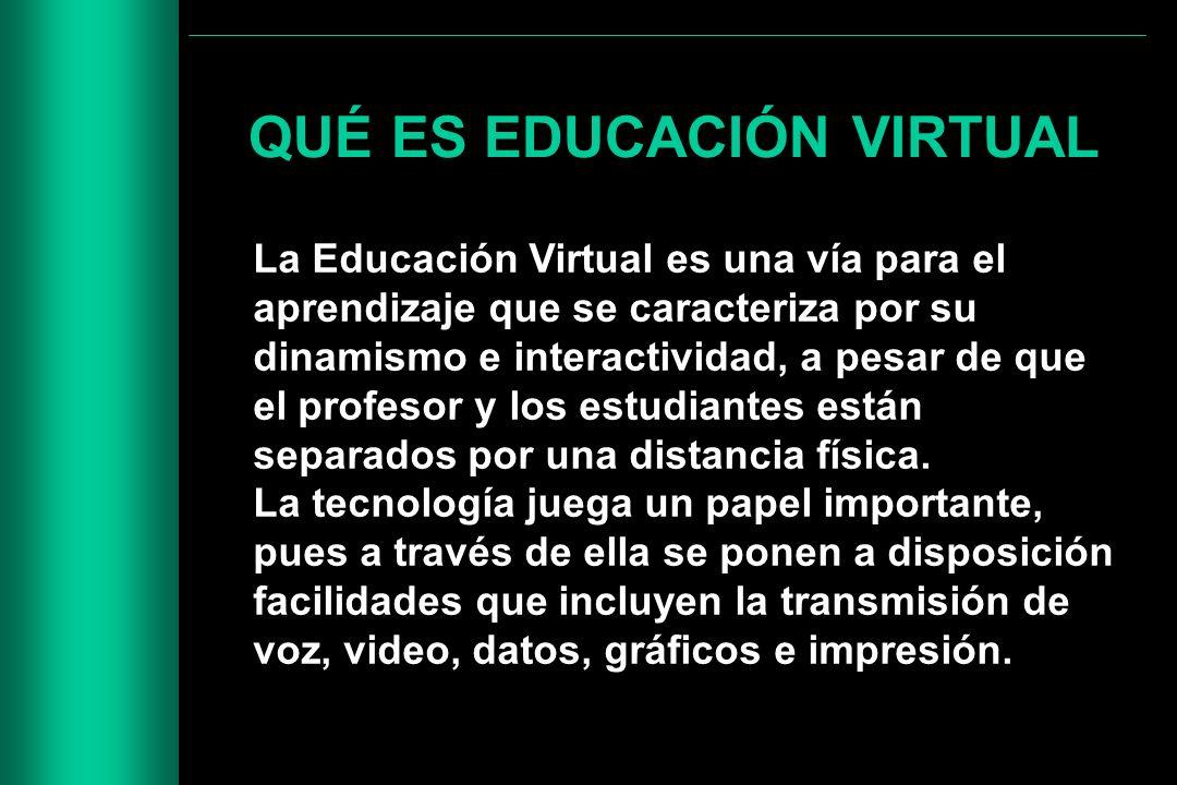 QUÉ ES EDUCACIÓN VIRTUAL La Educación Virtual es una vía para el aprendizaje que se caracteriza por su dinamismo e interactividad, a pesar de que el p