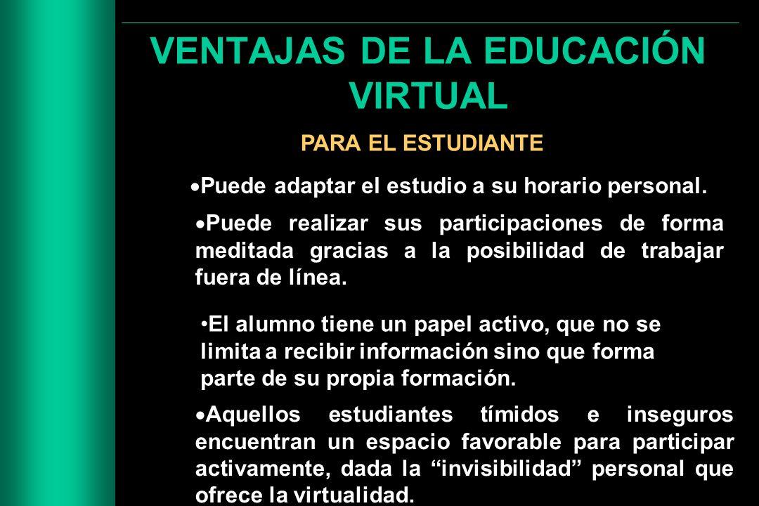VENTAJAS DE LA EDUCACIÓN VIRTUAL PARA EL ESTUDIANTE Puede adaptar el estudio a su horario personal. Puede realizar sus participaciones de forma medita