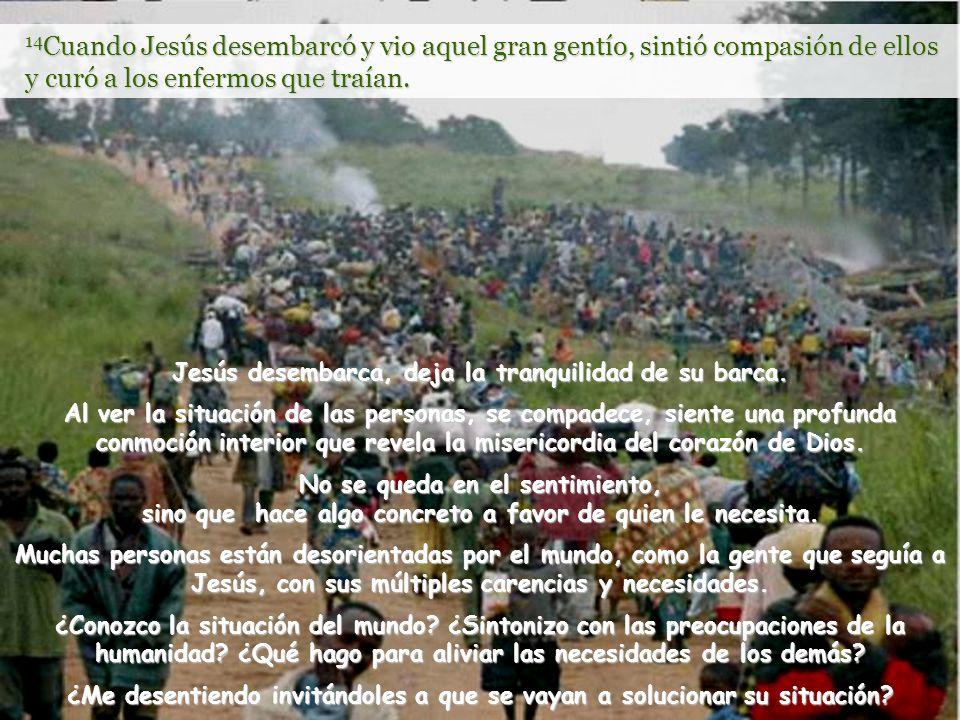 Vitanoble 14 Cuando Jesús desembarcó y vio aquel gran gentío, sintió compasión de ellos y curó a los enfermos que traían.