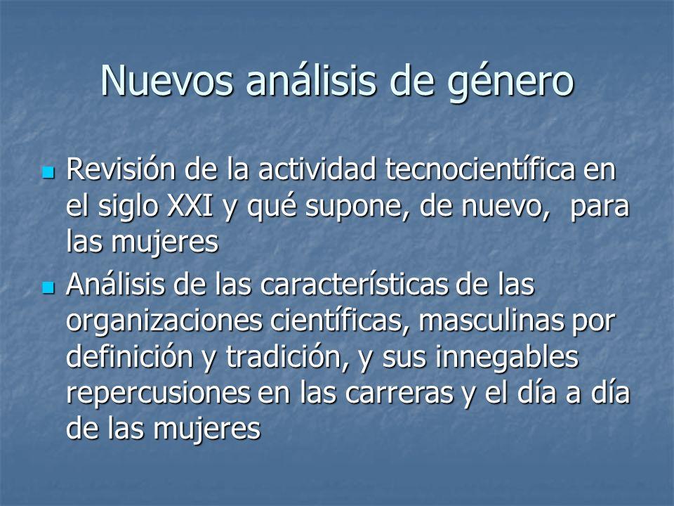 Nuevos análisis de género Revisión de la actividad tecnocientífica en el siglo XXI y qué supone, de nuevo, para las mujeres Revisión de la actividad t