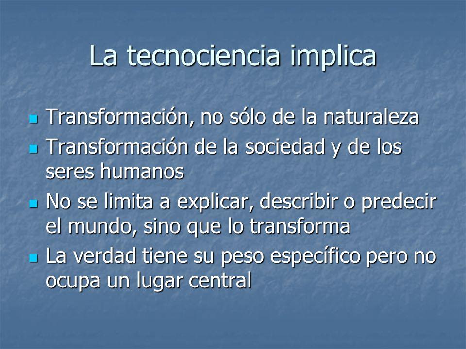 La tecnociencia implica Transformación, no sólo de la naturaleza Transformación, no sólo de la naturaleza Transformación de la sociedad y de los seres