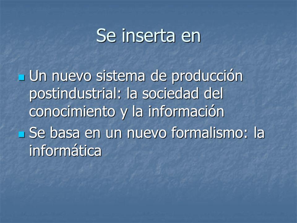 Se inserta en Un nuevo sistema de producción postindustrial: la sociedad del conocimiento y la información Un nuevo sistema de producción postindustri