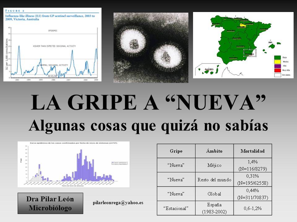 LA GRIPE A NUEVA Algunas cosas que quizá no sabías Dra Pilar León Microbiólogo pilarleonrega@yahoo.es