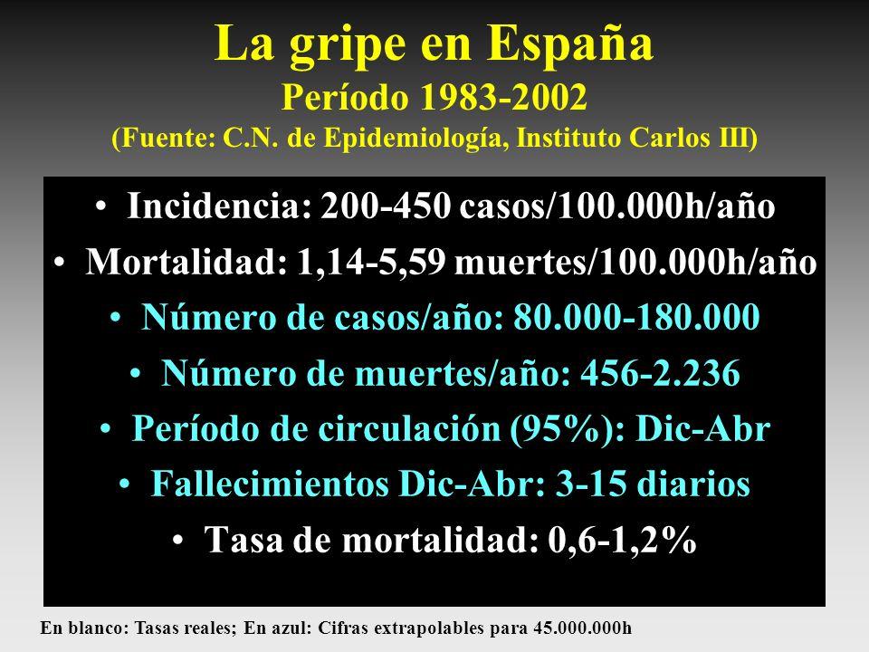 La gripe en España Período 1983-2002 (Fuente: C.N. de Epidemiología, Instituto Carlos III) Incidencia: 200-450 casos/100.000h/año Mortalidad: 1,14-5,5