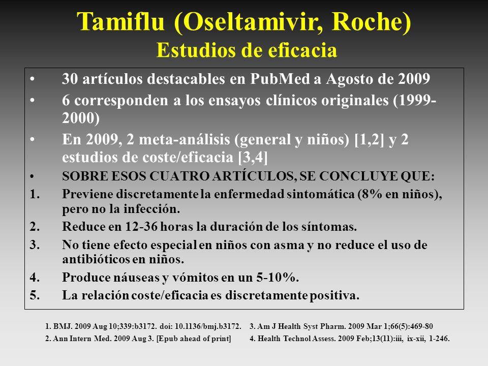 Tamiflu (Oseltamivir, Roche) Estudios de eficacia 30 artículos destacables en PubMed a Agosto de 2009 6 corresponden a los ensayos clínicos originales
