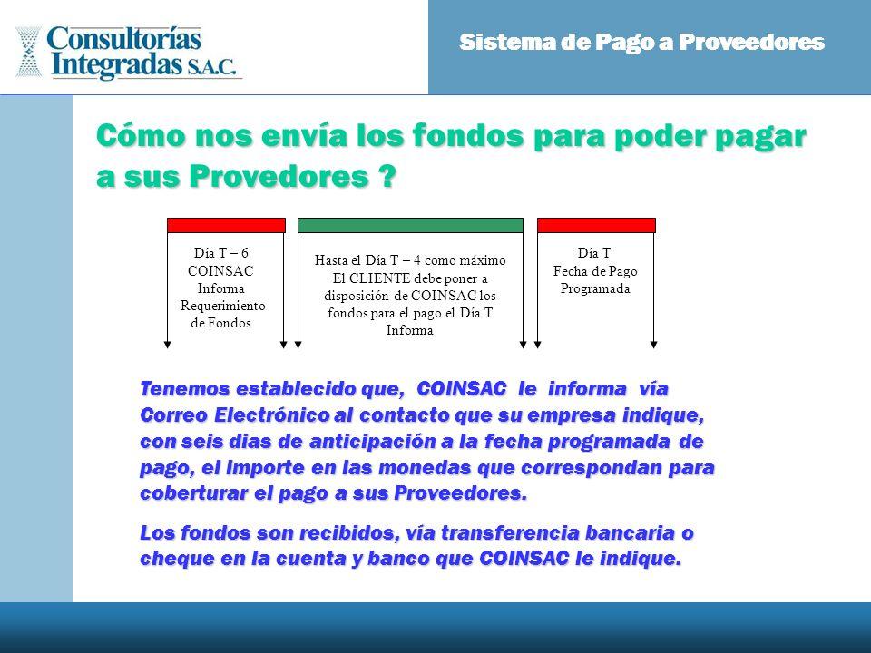 Sistema de Pago a Proveedores Tenemos establecido que, COINSAC le informa vía Correo Electrónico al contacto que su empresa indique, con seis dias de