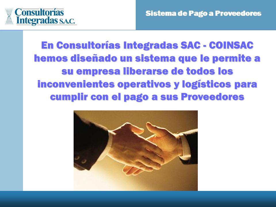 En Consultorías Integradas SAC - COINSAC hemos diseñado un sistema que le permite a su empresa liberarse de todos los inconvenientes operativos y logí
