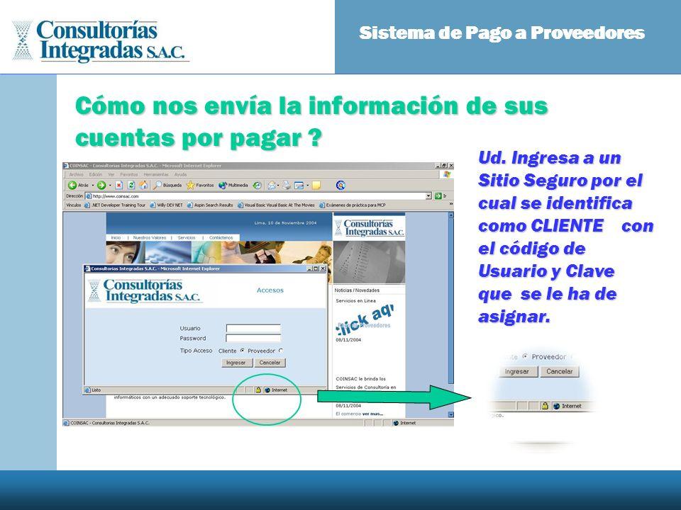 Cómo nos envía la información de sus cuentas por pagar ? Sistema de Pago a Proveedores Ud. Ingresa a un Sitio Seguro por el cual se identifica como CL