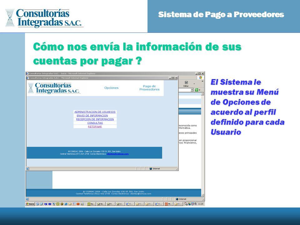 Cómo nos envía la información de sus cuentas por pagar ? Sistema de Pago a Proveedores El Sistema le muestra su Menú de Opciones de acuerdo al perfil
