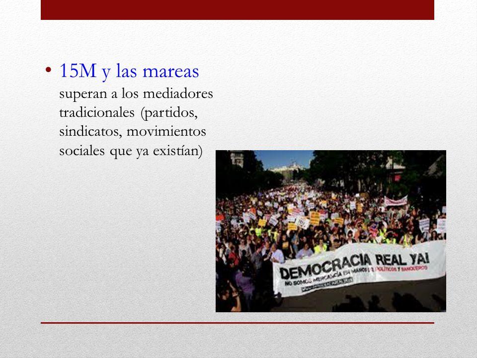 15M y las mareas superan a los mediadores tradicionales (partidos, sindicatos, movimientos sociales que ya existían)