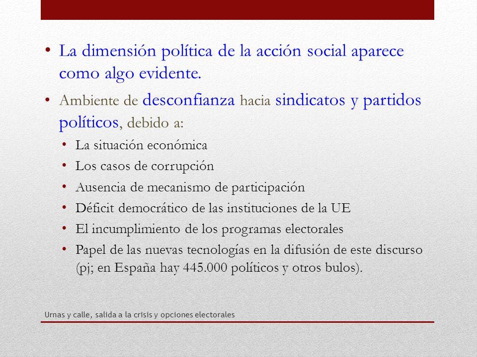 La dimensión política de la acción social aparece como algo evidente.
