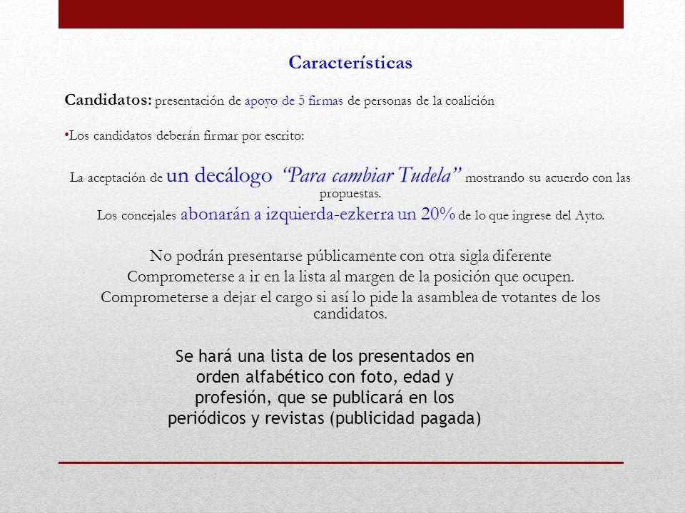 Características Candidatos: presentación de apoyo de 5 firmas de personas de la coalición Los candidatos deberán firmar por escrito: La aceptación de un decálogo Para cambiar Tudela mostrando su acuerdo con las propuestas.