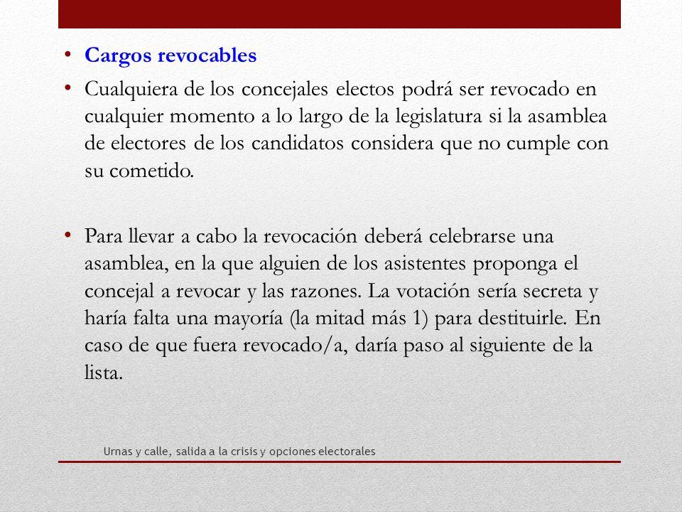 Cargos revocables Cualquiera de los concejales electos podrá ser revocado en cualquier momento a lo largo de la legislatura si la asamblea de electores de los candidatos considera que no cumple con su cometido.