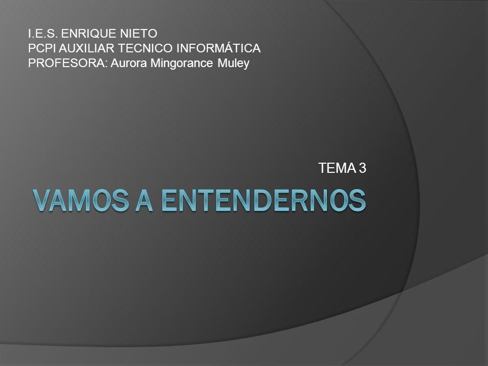 TEMA 3 I.E.S. ENRIQUE NIETO PCPI AUXILIAR TECNICO INFORMÁTICA PROFESORA: Aurora Mingorance Muley