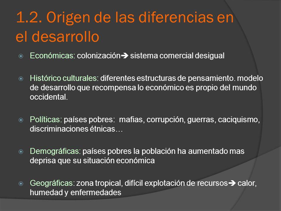 1.2. Origen de las diferencias en el desarrollo Económicas: colonización sistema comercial desigual Histórico culturales: diferentes estructuras de pe