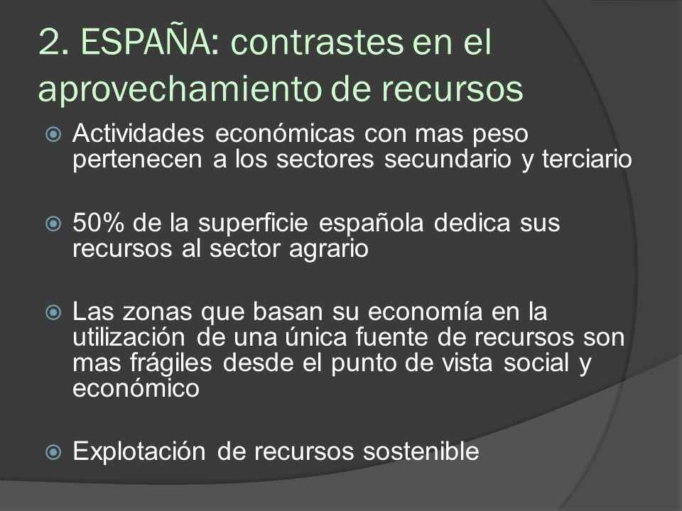 2. ESPAÑA: contrastes en el aprovechamiento de recursos Actividades económicas con mas peso pertenecen a los sectores secundario y terciario 50% de la