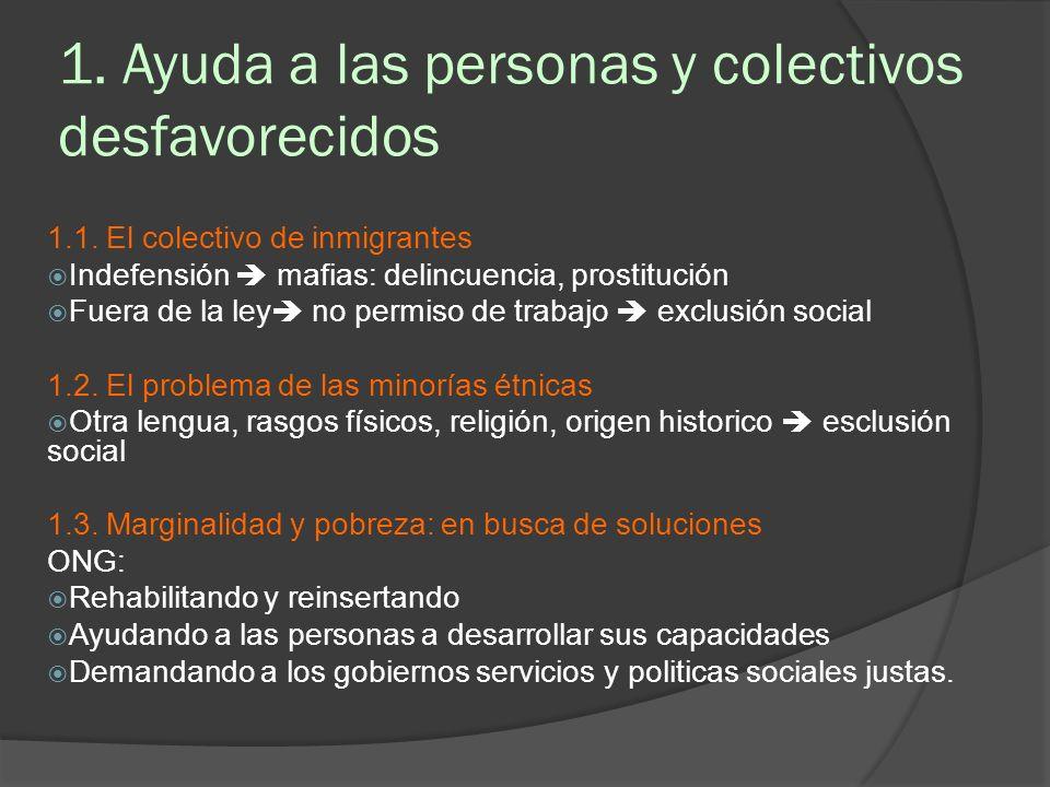 1. Ayuda a las personas y colectivos desfavorecidos 1.1. El colectivo de inmigrantes Indefensión mafias: delincuencia, prostitución Fuera de la ley no
