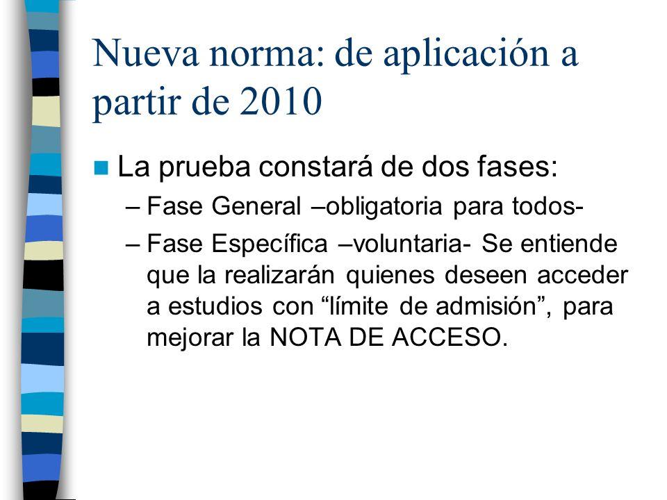 Nueva norma: de aplicación a partir de 2010 La prueba constará de dos fases: –Fase General –obligatoria para todos- –Fase Específica –voluntaria- Se entiende que la realizarán quienes deseen acceder a estudios con límite de admisión, para mejorar la NOTA DE ACCESO.