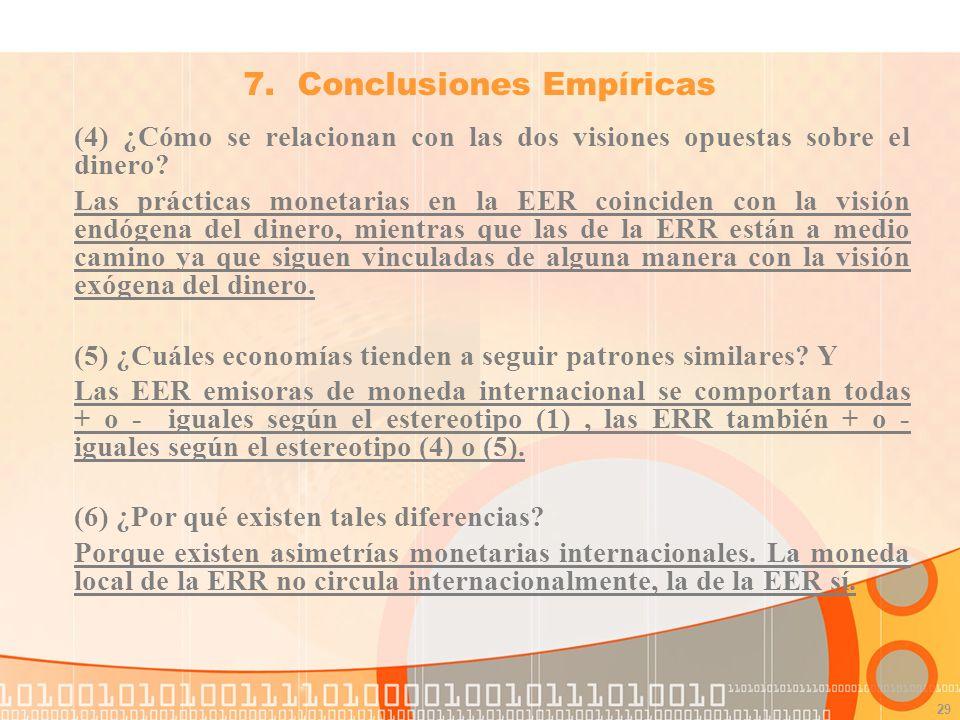 29 7.Conclusiones Empíricas (4) ¿Cómo se relacionan con las dos visiones opuestas sobre el dinero.