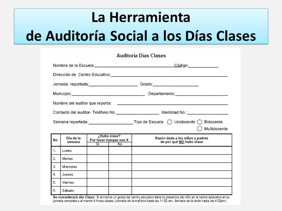 La Herramienta de Auditoría Social a los Días Clases