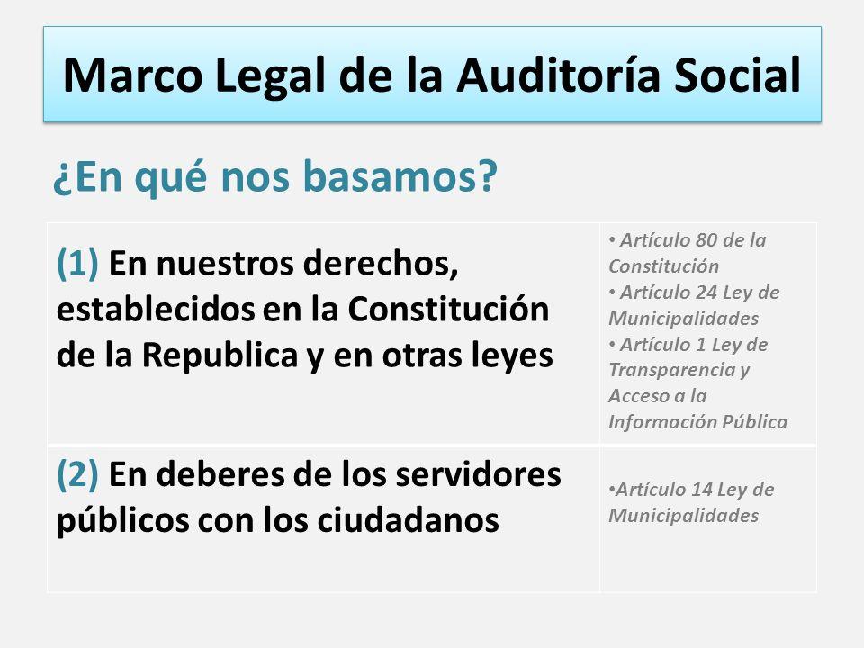Marco Legal de la Auditoría Social ¿En qué nos basamos? (1) En nuestros derechos, establecidos en la Constitución de la Republica y en otras leyes Art