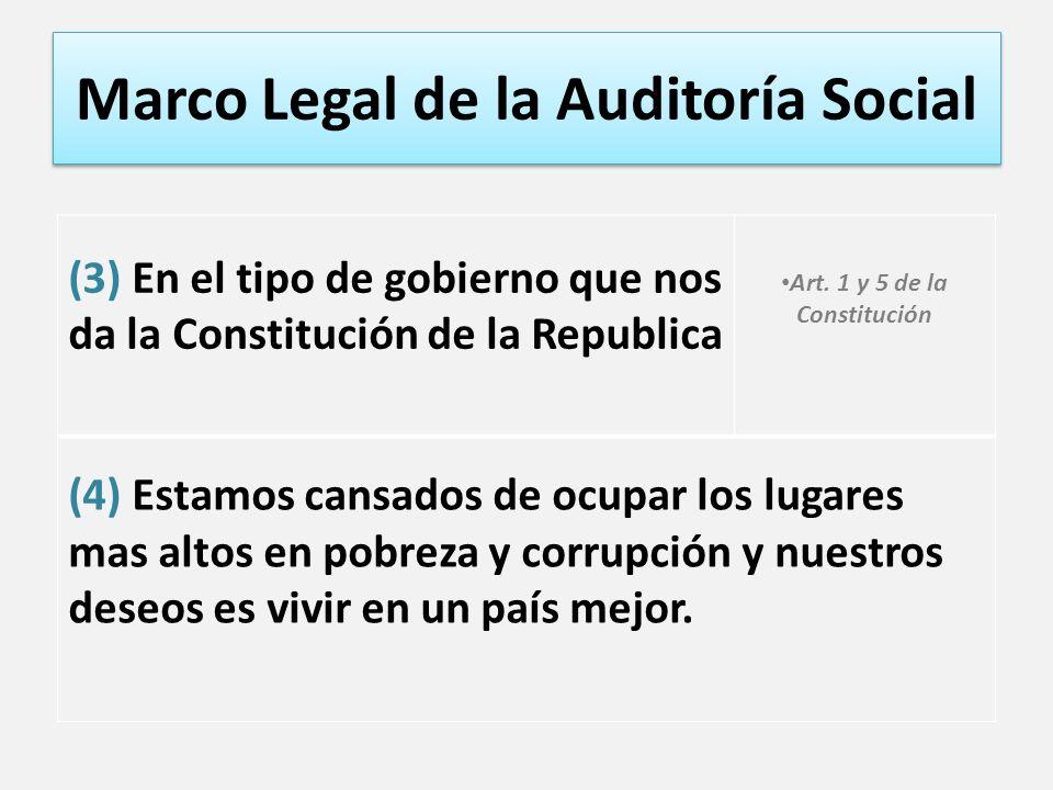h Marco Legal de la Auditoría Social (3) En el tipo de gobierno que nos da la Constitución de la Republica Art. 1 y 5 de la Constitución (4) Estamos c