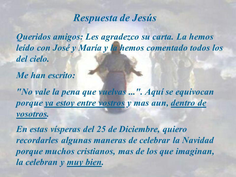 Respuesta de Jesús Queridos amigos: Les agradezco su carta.