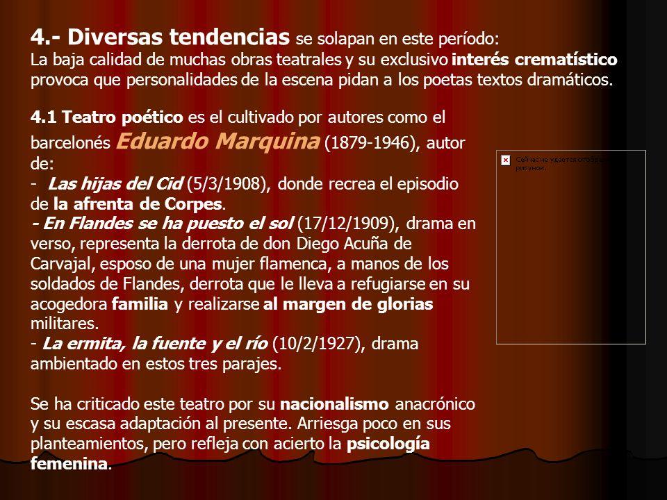 4.1 Teatro poético es el cultivado por autores como el barcelonés Eduardo Marquina (1879-1946), autor de: - Las hijas del Cid (5/3/1908), donde recrea