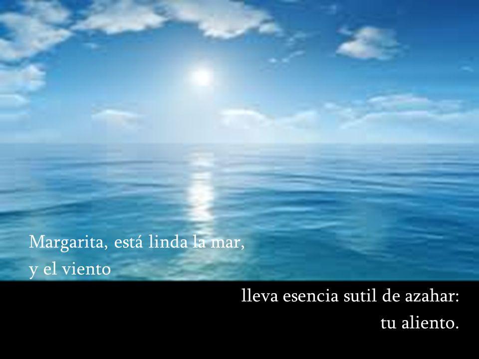 Margarita, está linda la mar, y el viento lleva esencia sutil de azahar: tu aliento.