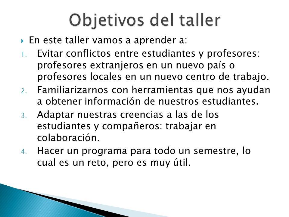 En este taller vamos a aprender a: 1. Evitar conflictos entre estudiantes y profesores: profesores extranjeros en un nuevo país o profesores locales e