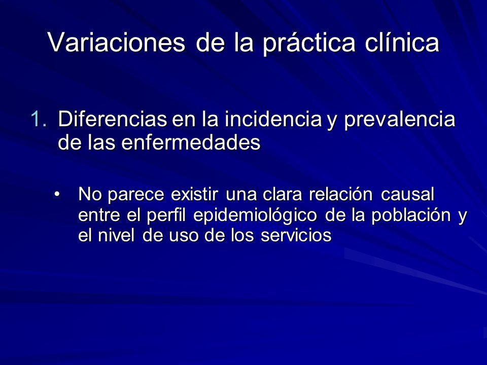 Variaciones de la práctica clínica 1.Diferencias en la incidencia y prevalencia de las enfermedades No parece existir una clara relación causal entre