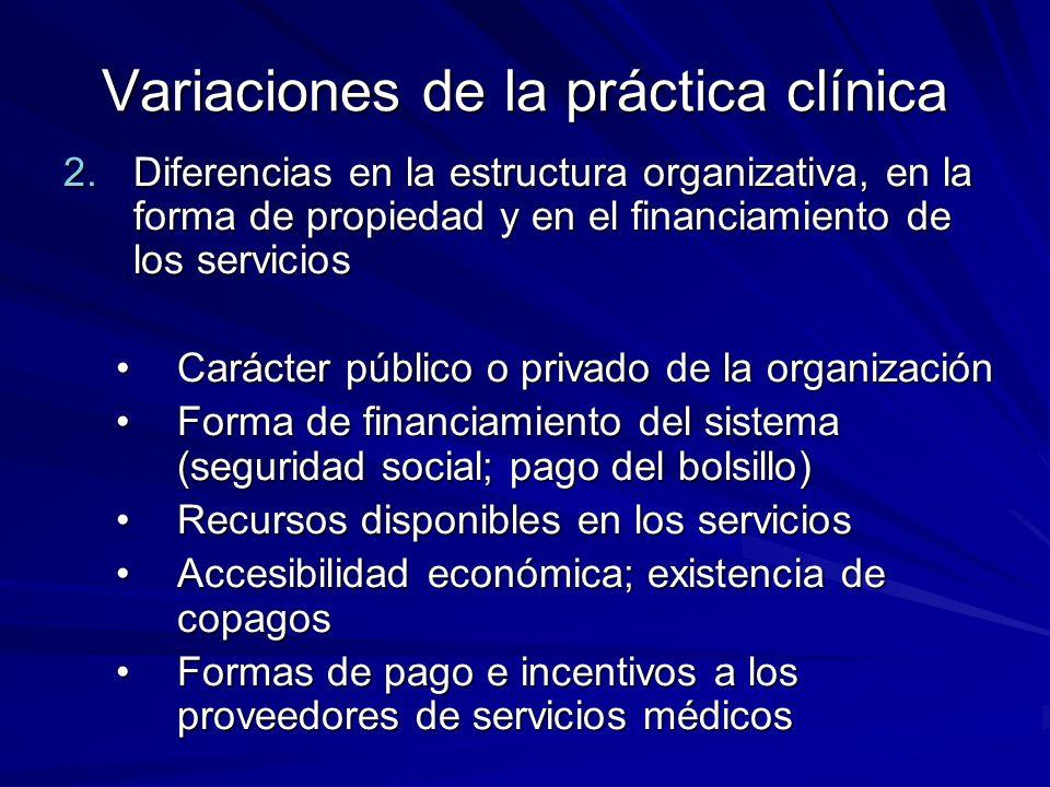 Variaciones de la práctica clínica 2.Diferencias en la estructura organizativa, en la forma de propiedad y en el financiamiento de los servicios Carác