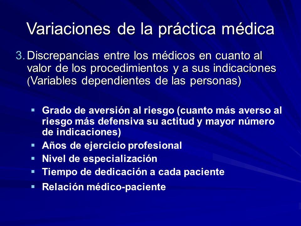 3.Discrepancias entre los médicos en cuanto al valor de los procedimientos y a sus indicaciones ( Variables dependientes de las personas) Grado de ave
