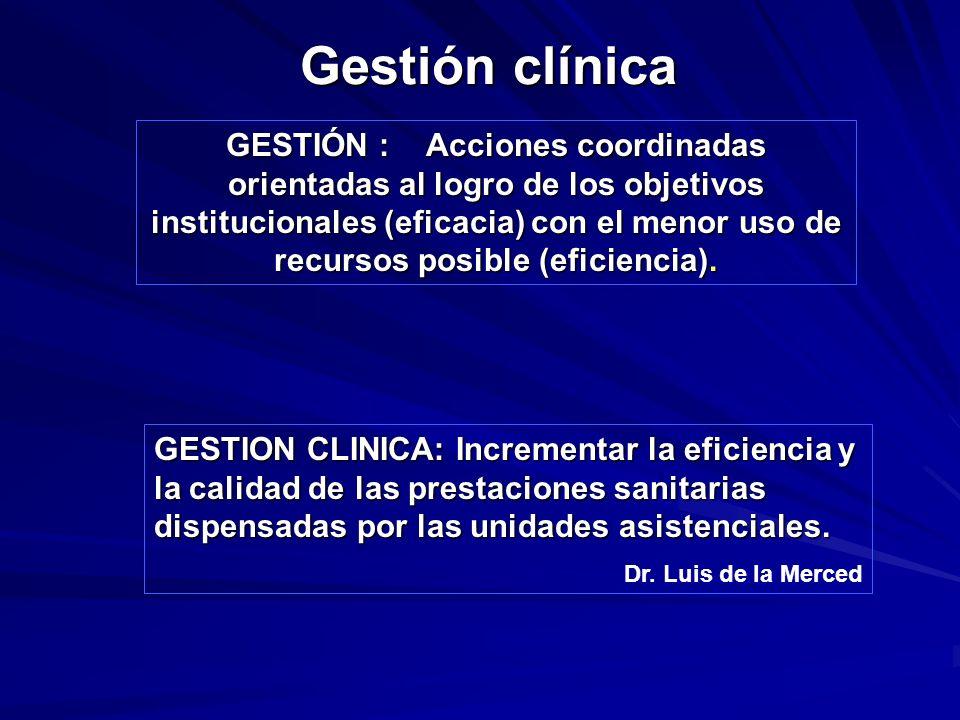 Gestión clínica GESTIÓN : Acciones coordinadas orientadas al logro de los objetivos institucionales (eficacia) con el menor uso de recursos posible (e