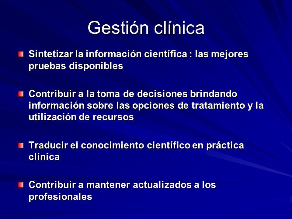 Gestión clínica Sintetizar la información científica : las mejores pruebas disponibles Contribuir a la toma de decisiones brindando información sobre