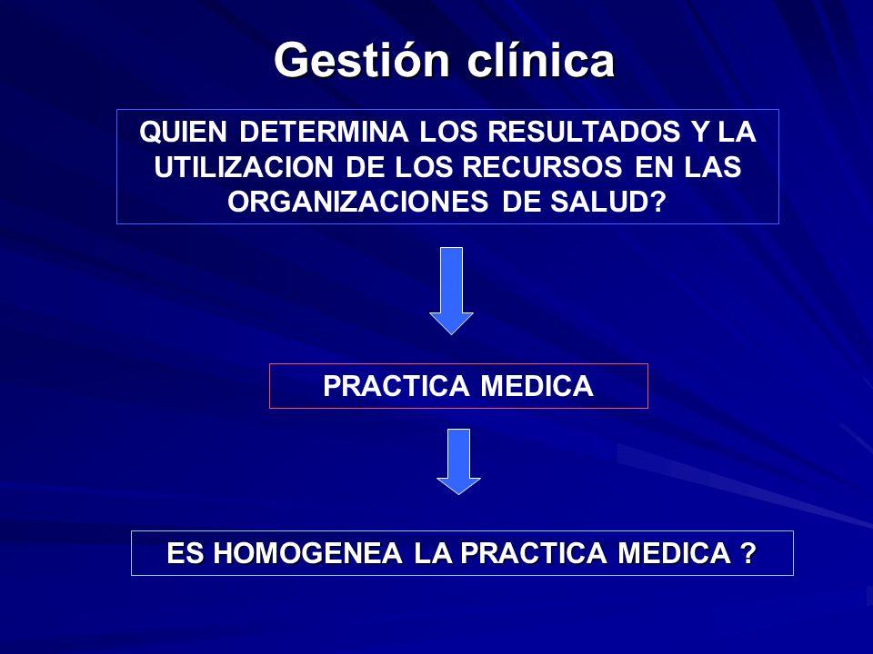 Gestión clínica ES HOMOGENEA LA PRACTICA MEDICA ? QUIEN DETERMINA LOS RESULTADOS Y LA UTILIZACION DE LOS RECURSOS EN LAS ORGANIZACIONES DE SALUD? PRAC