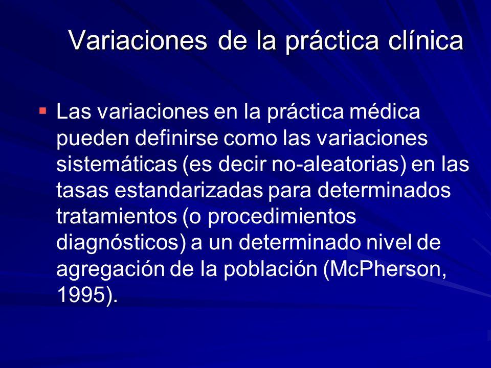 Variaciones de la práctica clínica Las variaciones en la práctica médica pueden definirse como las variaciones sistemáticas (es decir no-aleatorias) e
