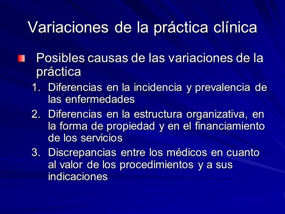Variaciones de la práctica clínica Posibles causas de las variaciones de la práctica 1.Diferencias en la incidencia y prevalencia de las enfermedades