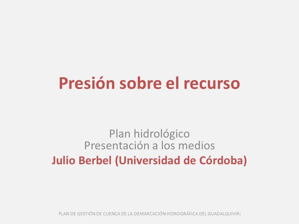 Presión sobre el recurso Plan hidrológico Presentación a los medios Julio Berbel (Universidad de Córdoba) PLAN DE GESTIÓN DE CUENCA DE LA DEMARCACIÓN