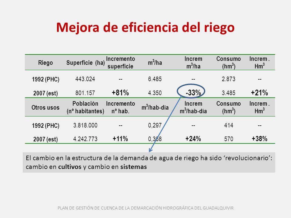 Mejora de eficiencia del riego RiegoSuperficie (ha) Incremento superficie m 3 /ha Increm m 3 /ha Consumo (hm 3 ) Increm. Hm 3 1992 (PHC) 443.024--6.48