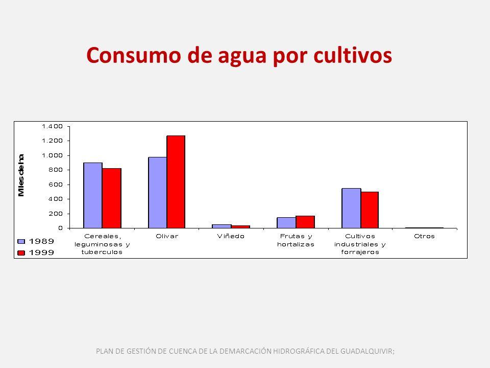 Consumo de agua por cultivos PLAN DE GESTIÓN DE CUENCA DE LA DEMARCACIÓN HIDROGRÁFICA DEL GUADALQUIVIR;
