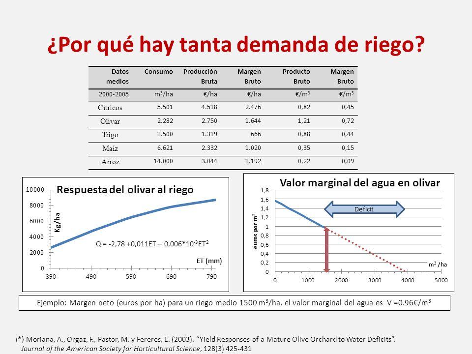 ¿Por qué hay tanta demanda de riego? Datos medios Consumo Producción Bruta Margen Bruto Producto Bruto Margen Bruto 2000-2005m 3 /ha/ha /m 3 Cítricos