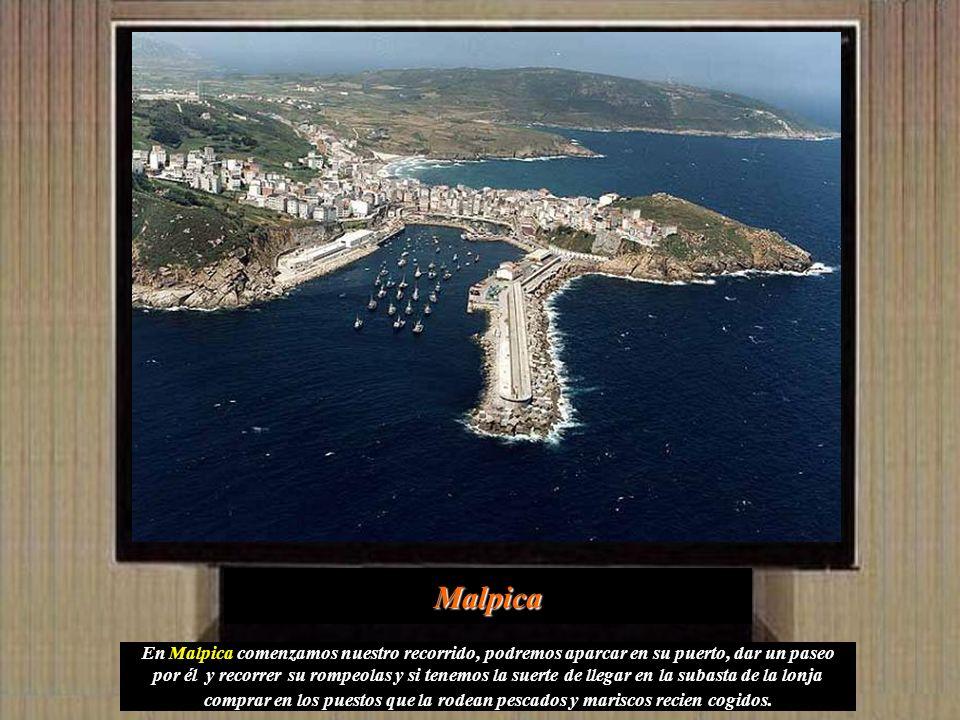 En Malpica comenzamos nuestro recorrido, podremos aparcar en su puerto, dar un paseo por él y recorrer su rompeolas y si tenemos la suerte de llegar en la subasta de la lonja comprar en los puestos que la rodean pescados y mariscos recien cogidos.