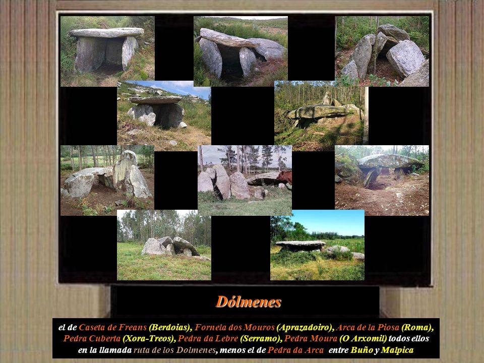 también en la parroquia de Borneiro se encuentra el Dolmen de Dombate con una antigüedad estimada de 4500 años, es una tumba megalítica formada por un