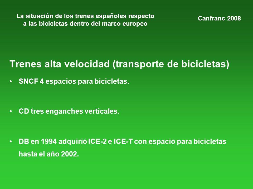 La situación de los trenes españoles respecto a las bicicletas dentro del marco europeo Trenes alta velocidad (transporte de bicicletas) SNCF 4 espacios para bicicletas.