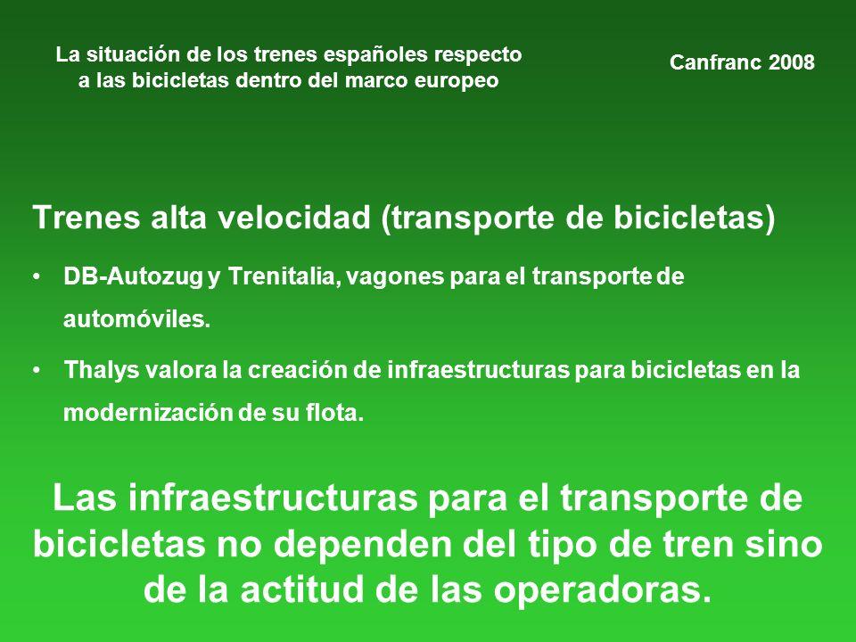 La situación de los trenes españoles respecto a las bicicletas dentro del marco europeo Trenes alta velocidad (transporte de bicicletas) DB-Autozug y Trenitalia, vagones para el transporte de automóviles.