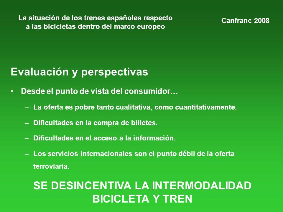 La situación de los trenes españoles respecto a las bicicletas dentro del marco europeo Evaluación y perspectivas Desde el punto de vista del consumid