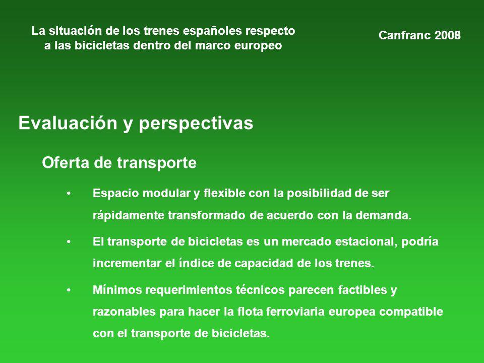 La situación de los trenes españoles respecto a las bicicletas dentro del marco europeo Evaluación y perspectivas Oferta de transporte Espacio modular
