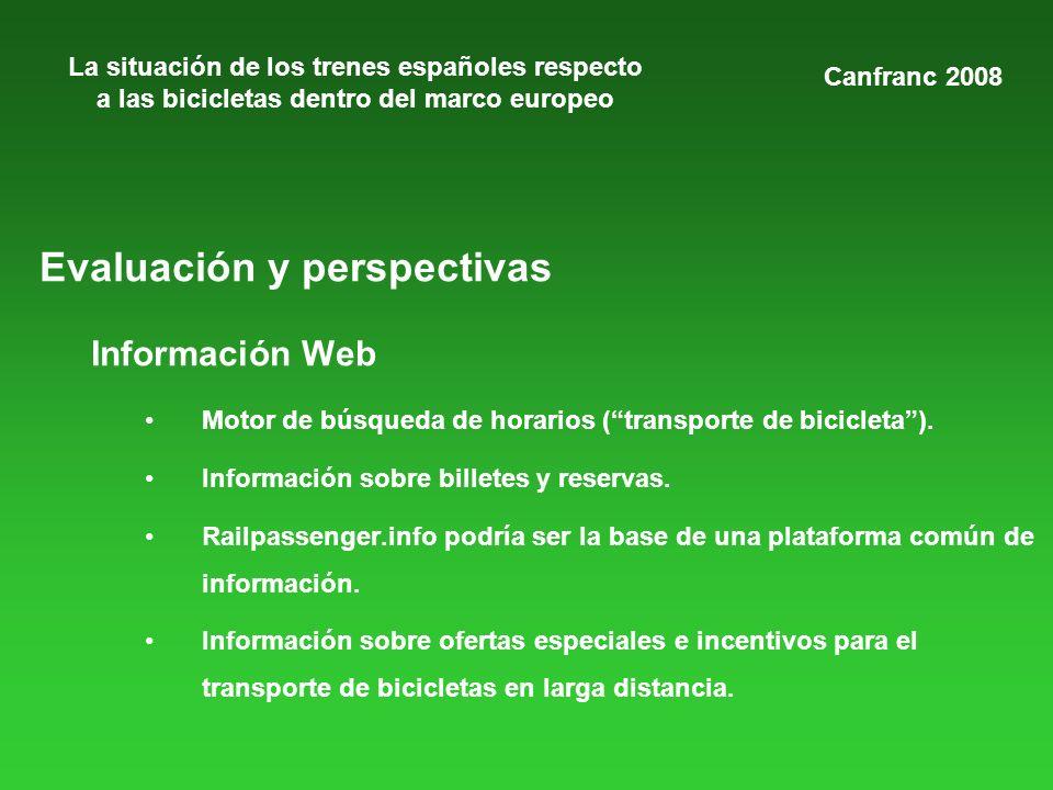 La situación de los trenes españoles respecto a las bicicletas dentro del marco europeo Evaluación y perspectivas Información Web Motor de búsqueda de horarios (transporte de bicicleta).