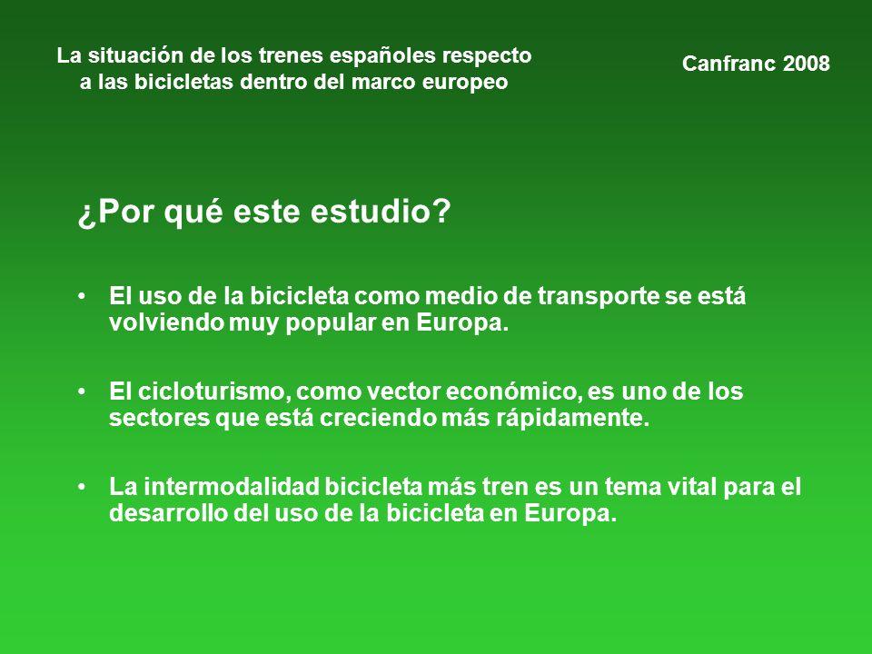 La situación de los trenes españoles respecto a las bicicletas dentro del marco europeo ¿Por qué este estudio? El uso de la bicicleta como medio de tr